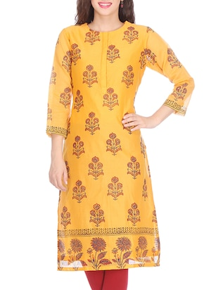 Yellow floral print chanderi kurta