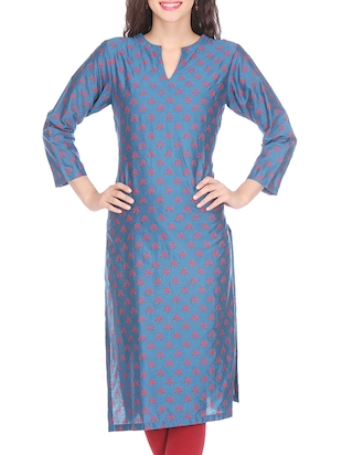 Navy blue printed chanderi kurta