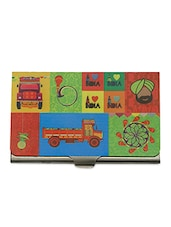 Multicolour Printed Steel Card Holder - By