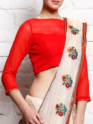Red georgette three-quarter sleeved blouse