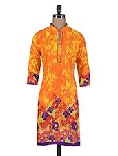 Orange Floral Printed Pin Tucked Cotton Kurta - By