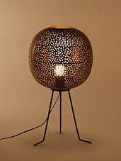 Gold Cutwork Tripod Table Lamp - By