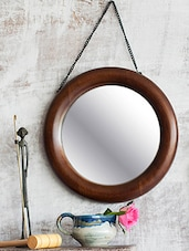 Mango Wood Round Frame Mirror - By