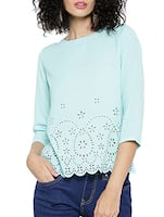 light blue poly georgette top -  online shopping for Tops