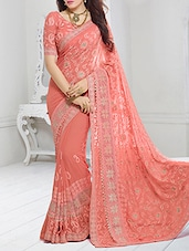 peach chiffon none saree -  online shopping for Sarees
