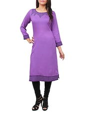 Purple Rayon Aline Kurta - By