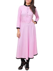 Pink Rayon Long  Kurta - By