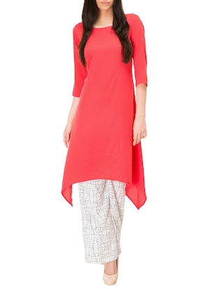 Peach poly crepe high-low kurta