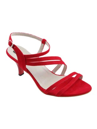 red fabric sandal