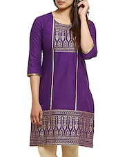 Purple Cotton Regular Kurta - By