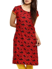 Red Rayon Regular Kurta - By