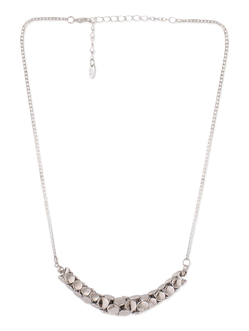 Silver Metal Long Necklace - By