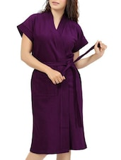 purple cotton bathrobe -  online shopping for bath robes