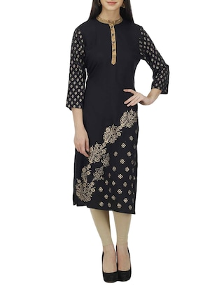 black cotton straight kurti