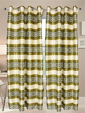 Green Printed Polyester Door Curtains (Set Of 2) - By