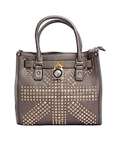 Grey Crystals Leatherette Hand Held Bag - By
