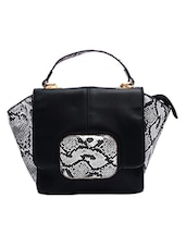 Black Snake Skin Printed Leatherette Hand Held Bag - By