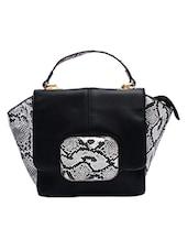 Black Snake Skin Printed Leatherette Hand Held Bag - By