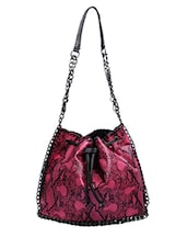 Pink Animal Printed Leatherette Shoulder Bag - By