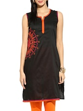 Black Poly Cotton Straight Kurta - By