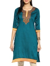 Green Poly Cotton Straight Kurta - By
