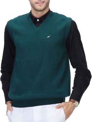 green acrylic pullover