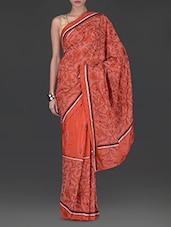 Rust Orange Embroidered Handloom Silk Saree - By