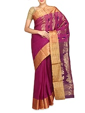 Purple Cotton Handwoven Saree - By
