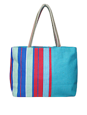 Turquoise Printed Jute Bag - By