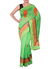 Green Kora Cotton Art Silk Saree - By
