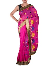 Embroidered Fuchsia Cotton Art Silk Saree - By