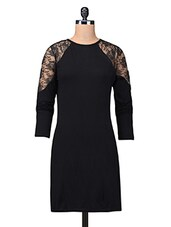 Solid Black Net Dress With Lace Trim - By