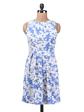 Blue And White Polycrepe Printed Dress - By