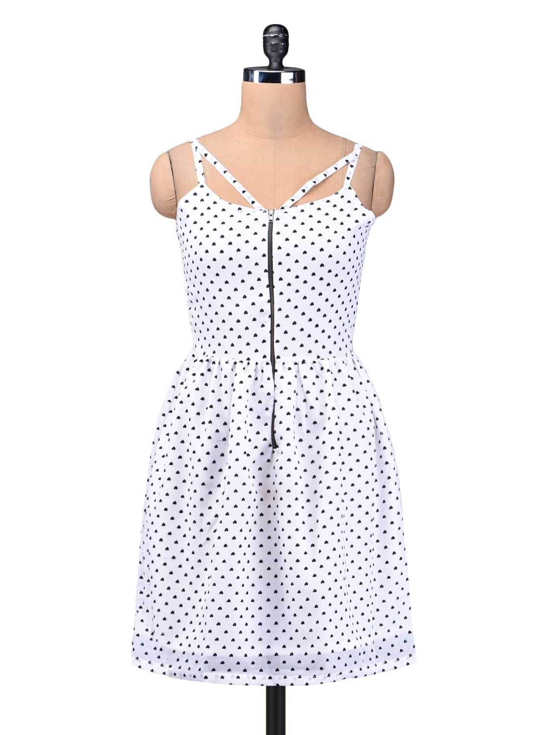Black And White Polygeorgette Printed Dress - By