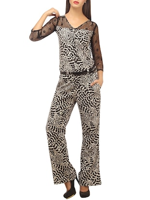 black printed viscose full leg jumpsuit