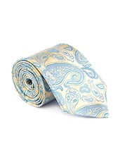 beige blue color, silk neck- tie -  online shopping for Ties