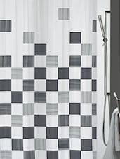 Grey Printed Polyester 1 Piece Shower Curtain - By