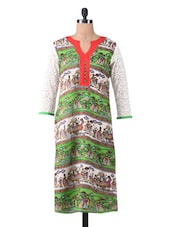 White And Green Printed Long Kurta - By