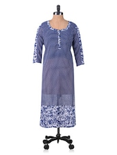 Dark Blue Floral Print Kurta - By
