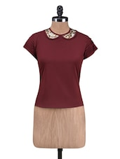 Maroon Polycrepe Sequined Top - By