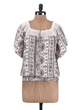 White Cotton Printed Top With Lace Trim - By