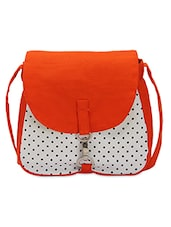 Orange And White Polka Print Cotton Slingbag - By