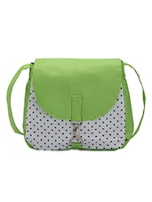 Green And White Polka Print Cotton Slingbag - By