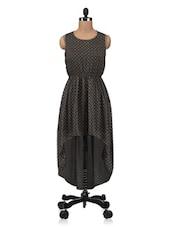 Dark Olive Polygeorgette Printed Dress - By