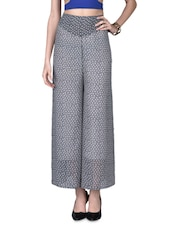 Grey Polygeorgette Printed Palazzo - By