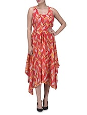 Orange  Polygeorgette Printed Asymmetrical Dress - By