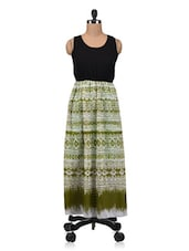 Green And Black Polygeorgette Printed Maxi Dress - By
