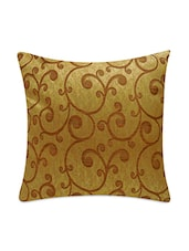Beige And Gold Jacquard Cushion Covers Set - By