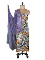 Purple Floral Printed Unstitched Suit Set - By