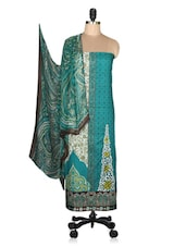 Teal Printed Cotton Unstitched Suit Set - By